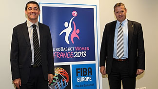 FIBA Europe President Olafur Rafnsson and French Federation President Jean-Pierre Siutat presenting the EuroBasket Women 2013 logo