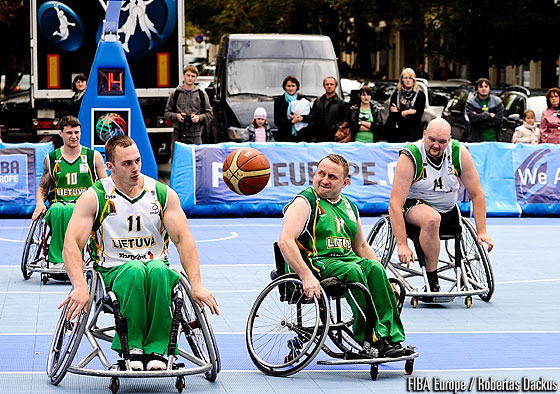 The Lithuanian wheelchair basketball national team in action