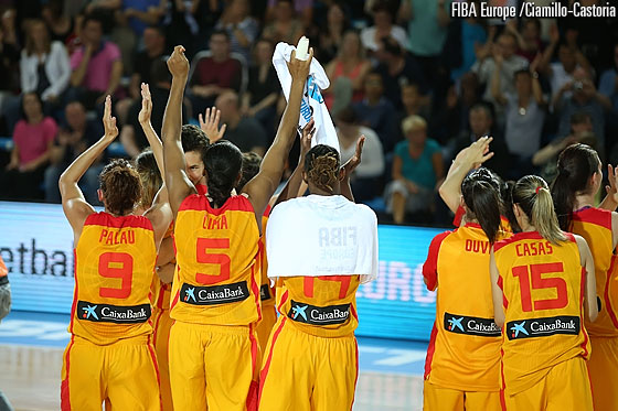 Spain celebrate their quarter-final triumph over Czech Republic