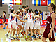 Serbia celebrate moving on to the semi-finals, where they will play France
