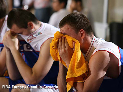 Serbian & Montenegrean players mourn their defeat to Turkey