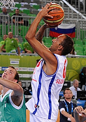 A Special Olympics showcase game took place at half-time of the Second Roung game between Slovenia and Italy