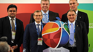 Presentation of the EuroBasket 2015 logo with Tournament Director Markian Lubkivskyi, Vice Prime Minister of Ukraine Olksandr Vilkul, UBF President Oleksandr Volkov, FIBA Europe Acting President Cyriel Coomans and Secretary General Kamil Novak
